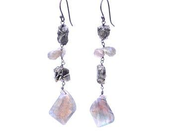 Rustic Labradorite and Rough Pyrite Earrings