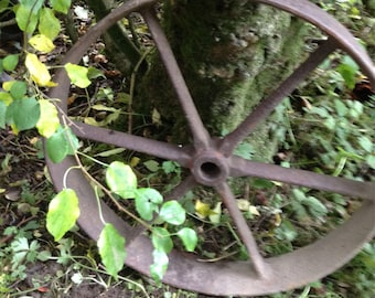 Architectural antique wheel for garden