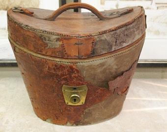 19th C Antique English Leather Hat Box