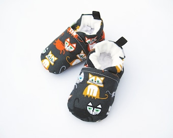 SECONDS Small Organic Vegan Cats/ All Fabric Soft Sole Shoes / Made to Order / Babies