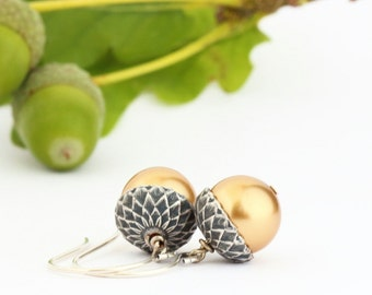 Gold Acorn Earrings - Silver and Rich Gold Pearls - Dangle Earrings - Woodland Jewelry - Rustic - Autumn - Acorn Jewelry - Gift For Mom