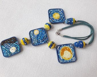 Vincent Van Gogh Starry Night jewelry yellow blue necklace art jewelry polymer clay Best Gift Women unique Fashion necklace artist jewelry