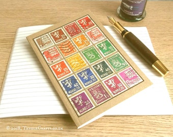 Scandinavia Travel Journal | Kraft A6 Notebook, Multicolour Postage Stamp Travel Gift | Upcycled Postal Stamps - Denmark, Finland, Norway