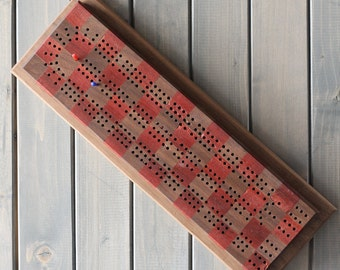 Wood board game, cribbage board, Padauk and Walnut checkered cribbage board.