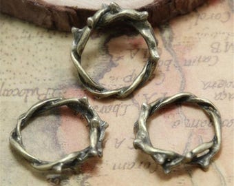 10pcs Crown of Thorns Charms Thorn Ring Bronze tone Twig Ring Branch Ring Pendant 23mm ASD0339