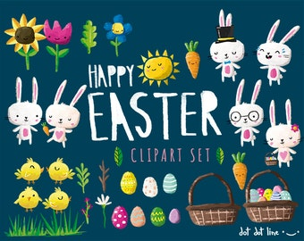 Easter Clipart Set- INSTANT DOWNLOAD Bunnies, flowers, eggs, sun and more clip art graphics