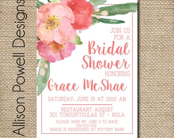 Coral Watercolor Floral Bouquet Bridal Shower, Bridal Luncheon, Spring, Summer Invitations - Print your own