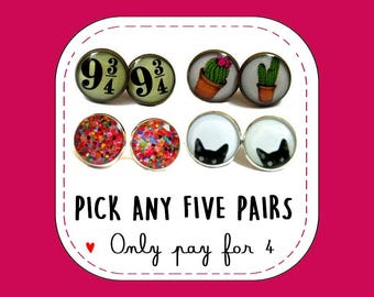 Stud Earrings Buy 4 Get one FREE - Pack of 5 Stud Earrings of your choice - You pick the designs