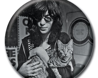 Joey holding a cat 1.75 inch pinback button