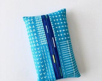 Travel Tissue Holder, Pocket Tissue Cover, Blue Tissue Case, Gift for Her, Teacher Gift