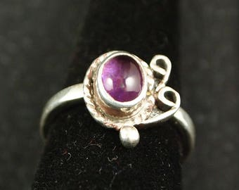 Amethyst and Sterling Silver Ring Size 7 1/2