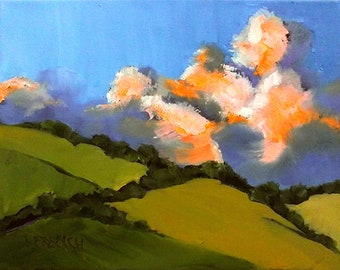 Napa Sonoma Hills Painting Wine Country California Plein Air Art Lynne French O/C Impressionist Landscape Clouds 11x14