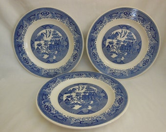 Blue Willow Dinner Plates by Royal China Cavalier Ironstone Made in USA Set of 3 plates offers considered