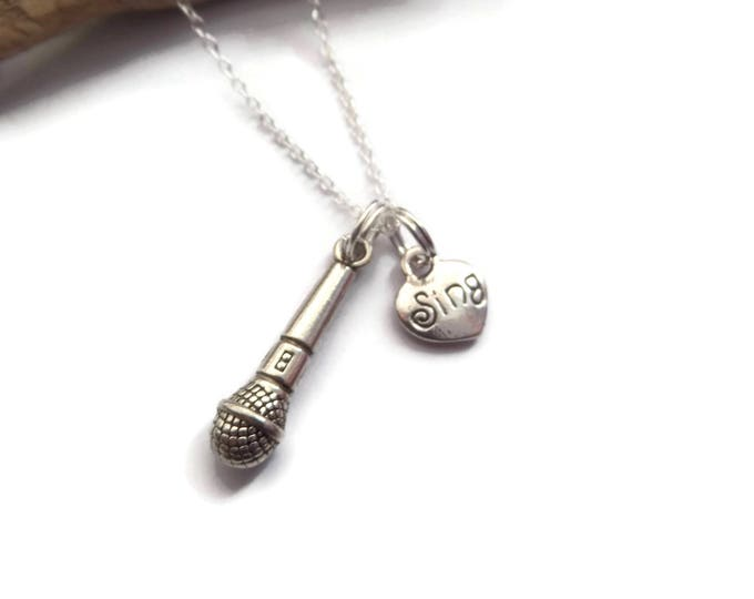 love singing necklace, singing gift, love to sing, microphone necklace, singing jewellery, love to sing gift, singing party, sandykissesuk