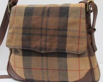 WAXED FLANNEL SADDLEBAG by Elizabeth Z Mow Pleasing Plaid with Leather
