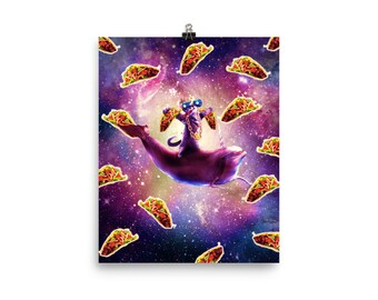 Thug Space Cat On Dolphin Unicorn - Taco Poster