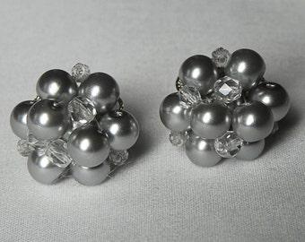 Grey Pearl Cluster Bridesmaids Earrings wedding jewelry bridal gift post earrings Jacqueline Bridesmaids Earrings.