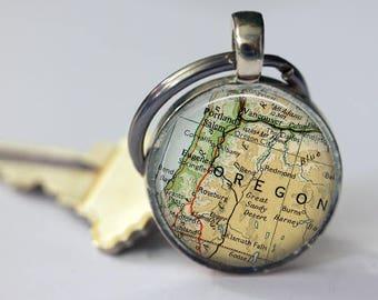 Oregon keychain, graduation keychain, Portland bronze keychain, anniversary keychain, Eugene keychain for him, Salem personalized keychain