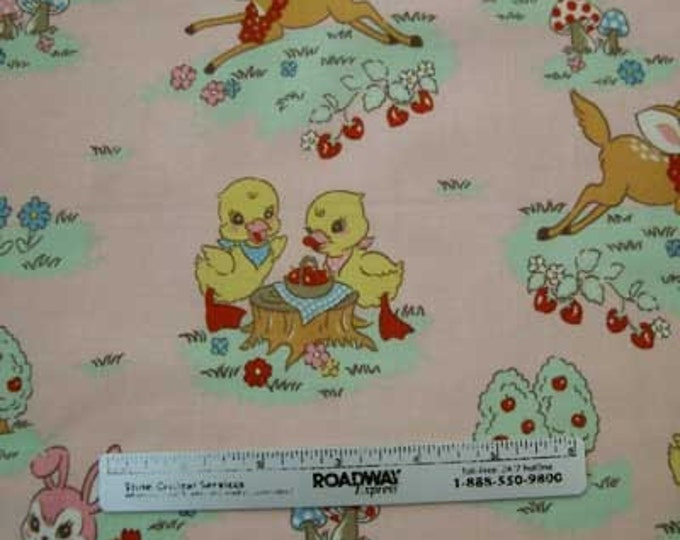 """Japanese Kokka BAMBI Chicks BUNNY Pink Quilt Fabric - RARE & Out of Print - Fq 18 x 21 or 22"""" x 44"""" Remnant"""