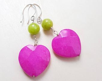 Colored earrings, Pink earrings, Hot pink earrings, Dangle earrings, Heart earrings, Fancy earrings, Colored jewlery,  Neon earrings