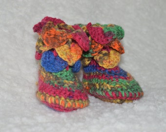 Newborn Booties, Baby Booties, Multicolour Baby Booties, Hippie Baby Booties, Crochet Booties, Crocodile Stitch, Handmade booties, Rainbow