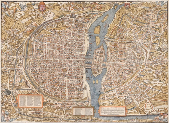 Paris map Huge Vintage historic old world map of Paris France circa 1550 Fine Art Print Giclee Poster