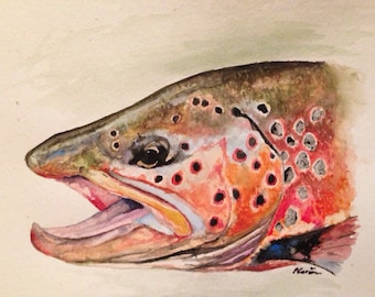 """Trout art: brown trout painting print brown trout art fish painting 8x12"""""""
