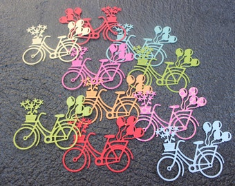 Die Cut Cardstock Bike with Balloons and Flowers Embellishments, Cards, Scrapbooks, Gifts, Tags, Decorations Pack 6