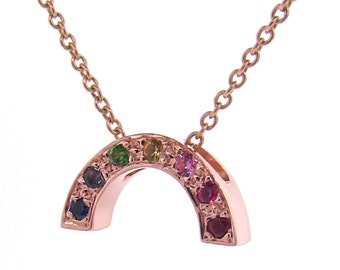 Rose Gold multi stone set Baby Rainbow Pendant or necklace