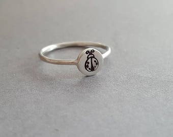 Sterling silver -  ladybug ring - midi ring - ring for her - petite sterling ring - pinky ring