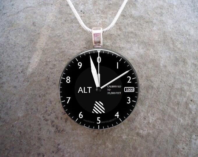 Altimeter - Pilot Jewelry - Glass Pendant Necklace - Aircraft Instrument Dial