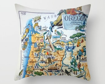 Oregon Map Pillow Cover, Unique Oregon Pillow, Oregon Gifts, Oregon Home Gifts, OR State Map Pillow Oregon Throw Pillow