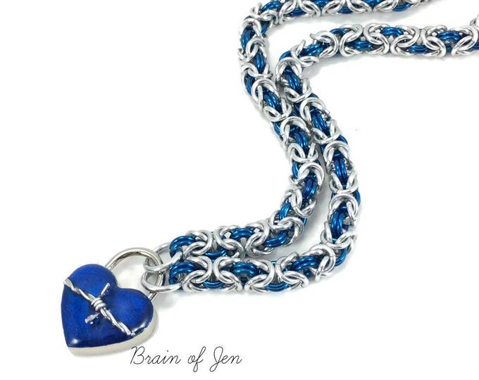 BDSM Slave Collar Silver & Cobalt Blue with Heart and Barbed Wire Lock Submissive Collar