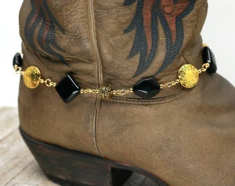 Gold boot bling, black, gift for her, mothers day gift