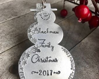 Snowman ornament • hand stamped, metal snowman • family Christmas ornament • snowmen • family names • kids names • pet names • 2017 ornament