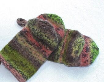 Kiwi Grün Koralle braun stricken gefilzte Wolle Ofen Mitt Set, braun Koralle stricken gefilzt Ofen Handschuhe Wolle Ofen Handschuh Set, Hostess Geschenke, Geschenk