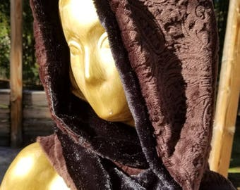Reversible Hooded Scarf - Roomy hood with open or infinity scarf
