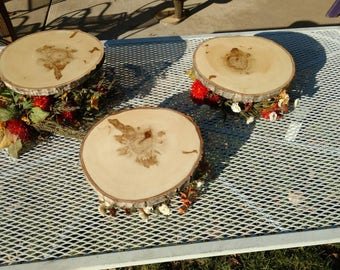 Set of 3 or 4 rustic live edge tiered wood/log disc cake cupcake stands. Wedding cake stand.  Shower cake stand.  Rustic cake display.