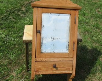 Vintage Wooden Medicine Bathroom Cabinet Beveled Glass Mirror Drawer Apothecary
