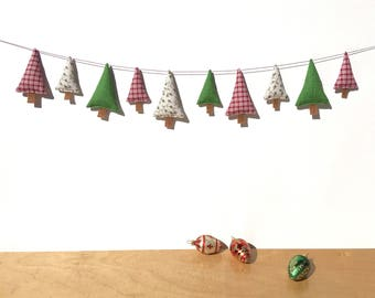 Christmas Tree Banner, Holiday Banner, Fabric Christmas Banner, Christmas Decoration, Handmade Christmas Banner