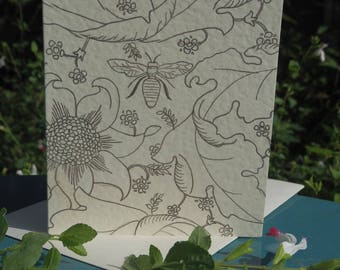 Floral honey bee greeting card