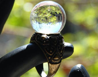 Crystal Ball Ring Fortune Teller Ring Telling Clear Quartz Sphere Ring Crystal Glass Orb Globe Psychic Jewelry Goblin King Labyrinth