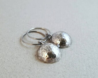 Sterling Silver Domed and Hammered Earrings