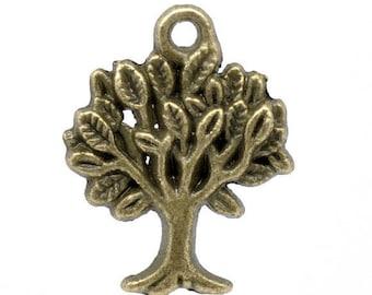 1 pendant 22 * 17 mm bronze metal tree charm