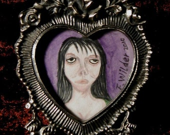Miniature gothic horror painting in frame Valentine by Fred Wilder
