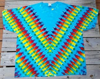 Plus Size 3XL Rainbow Tie Dye T-Shirt, Hippie Shirt, Mens Tie Dye, Women's Tie Dye, Ready to Ship