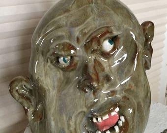 Vintage Southern Folk Art Pottery Face Jug, Ugly Jug, Signed