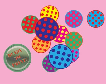 Diner Cupcake Toppers Printable 12 Polka Dot Cake Party Decorations Retro 1950s Birthday Favors Decoration Red Green Purple Aqua Orange Pink
