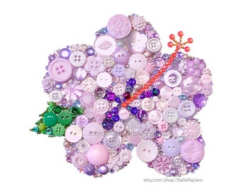 Hibiscus Flower Button Art Fourth Anniversary Fruit and Flowers Tropical Wedding Anniversary  Gifts Hawaiian Wedding Gifts Button Hibiscus