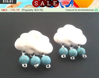 Cloud silver earring , 925 sterling silver post - Drop, Dangle, Glass Earrings, bridesmaid gifts,Wedding jewelry